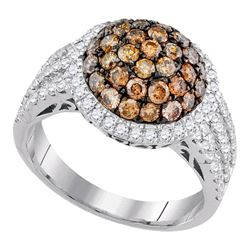 Round Brown Diamond Cluster Ring 2.00 Cttw 10kt White Gold
