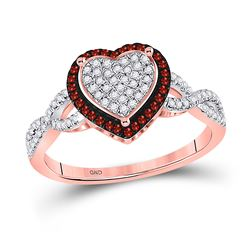 Round Red Color Enhanced Diamond Heart Cluster Ring 1/6 Cttw 10kt Rose Gold