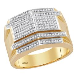 Mens Diamond Symmetrical Arched Cluster Ring 1/2 Cttw 10kt Yellow Gold