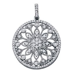 Diamond Antique-style Circle Pendant 1/2 Cttw 10kt White Gold