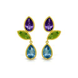Genuine 13.6 ctw Blue Topaz & Peridot Earrings 14KT Yellow Gold - REF-62F4Z