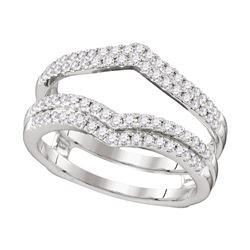 Diamond Chevron Wrap Ring Guard Enhancer Wedding Band 1/2 Cttw 14kt White Gold