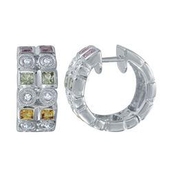 1.39 CTW Multi-Color Sapphire & Diamond Earrings 14K White Gold - REF-62W9H