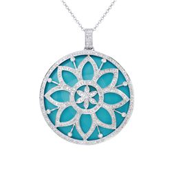 57.71 CTW Turquoise & Diamond Necklace 14K White Gold - REF-187Y5X