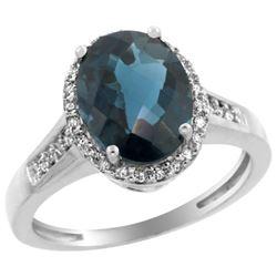 2.60 CTW London Blue Topaz & Diamond Ring 14K White Gold - REF-55R5H