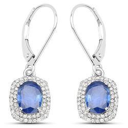 2.36 ctw Sapphire Blue & Diamond Earrings 14K White Gold - REF-95A4M