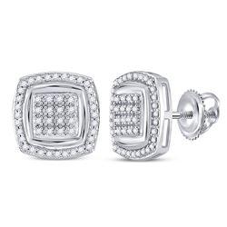 Diamond Square Frame Cluster Earrings 1/3 Cttw 10kt White Gold