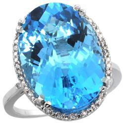 13.71 CTW Swiss Blue Topaz & Diamond Ring 14K White Gold - REF-59R4H