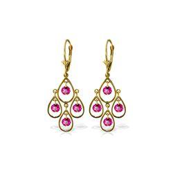 Genuine 2.4 ctw Pink Topaz Earrings 14KT Yellow Gold - REF-55Z5N