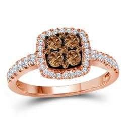 Round Brown Diamond Square Cluster Ring 3/4 Cttw 14kt Rose Gold