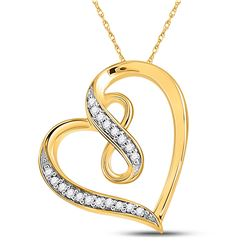 Diamond Heart Infinity Pendant 1/20 Cttw 10kt Yellow Gold