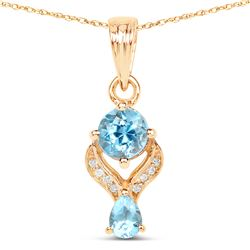 0.79 ctw Swiss Blue Topaz & Diamond Pendant 14K Yellow Gold - REF-28R4K