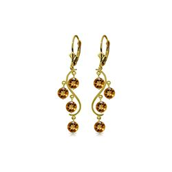 Genuine 4.95 ctw Citrine Earrings 14KT Yellow Gold - REF-53K8V