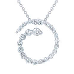 0.40 CTW Diamond Necklace 14K White Gold - REF-35H5M