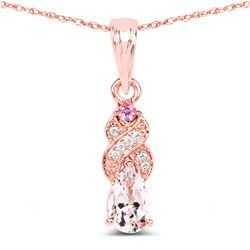 0.43 ctw Morganite, Tourmaline Pink & Diamond Pendant 14K Rose Gold - REF-27F2W