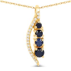 0.39 ctw Sapphire Blue & Diamond Pendant 14K Yellow Gold - REF-27W4M