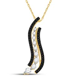 Round Black Color Enhanced Diamond Graduated Journey Pendant 1.00 Cttw 10kt Yellow Gold