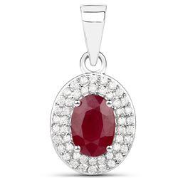 1.08 ctw Ruby & White Diamond Pendant 14K White Gold - REF-37N2A