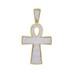 Mens Diamond Ankh Cross Religious Charm Pendant 3/4 Cttw 10kt Yellow Gold