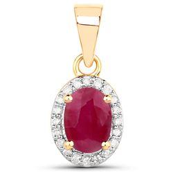 0.65 ctw Ruby & White Diamond Pendant 14K Yellow Gold - REF-31Y6N