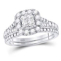 Diamond Cluster Bridal Wedding Engagement Ring Band Set 1.00 Cttw 14kt White Gold