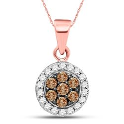 Round Brown Diamond Flower Cluster Pendant 3/8 Cttw 10kt Rose Gold