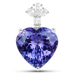 19.30 ctw Tanzanite & Diamond Pendant 18K White Gold - REF-1152W2M