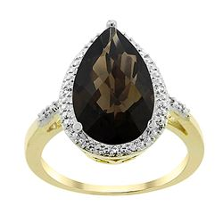 5.55 CTW Quartz & Diamond Ring 10K Yellow Gold - REF-34R8H