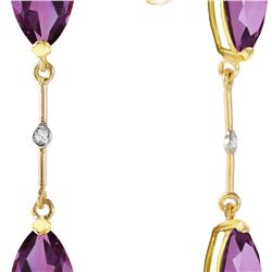 Genuine 6.01 ctw Amethyst & Diamond Earrings 14KT Yellow Gold - REF-42P4H