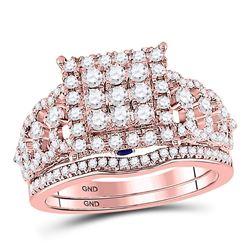 Diamond Bridal Wedding Engagement Ring Band Set 1.00 Cttw 14kt Rose Gold