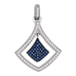 Round Blue Color Enhanced Diamond Spade Cluster Pendant 1/4 Cttw 10kt White Gold