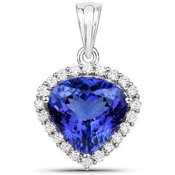 9.21 ctw Tanzanite & Diamond Pendant 18K White Gold - REF-897T2X