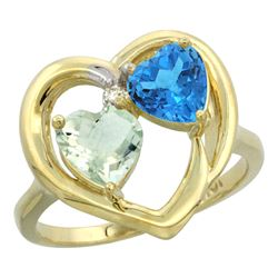 2.61 CTW Diamond, Amethyst & Swiss Blue Topaz Ring 14K Yellow Gold - REF-33A9X