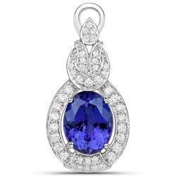 9.60 ctw Tanzanite & Diamond Pendant 18K White Gold - REF-984X8Y