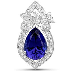 8.91 ctw Tanzanite & Diamond Pendant 18K White Gold - REF-1033A8M