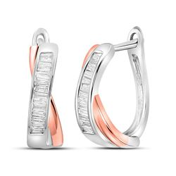 Baguette Diamond Hoop Earrings 1/3 Cttw 10kt Two-tone Gold