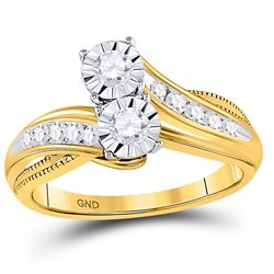 Diamond 2-stone Bridal Wedding Engagement Ring 1/2 Cttw 14kt Yellow Gold
