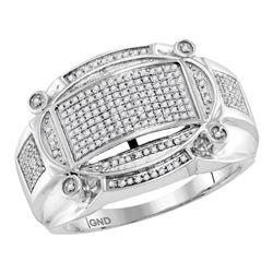 Mens Diamond Oval Rectangle Cluster Ring 1/2 Cttw 10kt White Gold