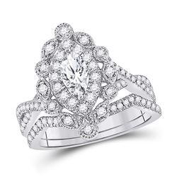 Marquise Diamond Bridal Wedding Engagement Ring Band Set 1.00 Cttw 14kt White Gold