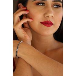 Natural 11.91 ctw Black Diamond Eternity Tennis Bracelet 14K White Gold - REF-290Z8R