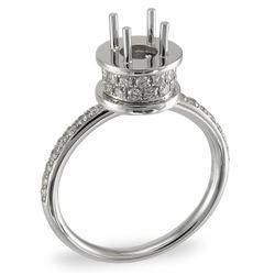0.45 CTW Diamond Semi Mount Ring 14K White Gold - REF-49K2W