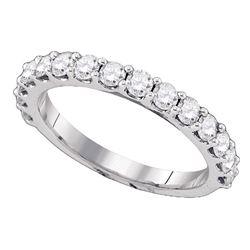 Round Pave-set Diamond Single Row Wedding Band 1.00 Cttw 14kt White Gold