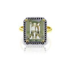Genuine 5.8 ctw Green Amethyst & Black Diamond Ring 14KT Yellow Gold - REF-79M8T