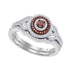 Round Red Color Enhanced Diamond Bridal Wedding Engagement Ring Band Set 1/2 Cttw 10kt White Gold
