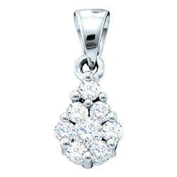 Diamond Flower Cluster Pendant 1/6 Cttw 14kt White Gold