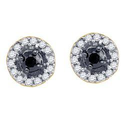 Round Black Color Enhanced Diamond Stud Screwback Earrings 1/5 Cttw 10kt Yellow Gold