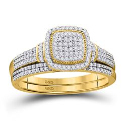 Diamond Square Cluster Bridal Wedding Engagement Ring Band Set 1/3 Cttw 10kt Yellow Gold