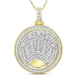 Mens Diamond King Crown Charm Pendant 7/8 Cttw 10kt Yellow Gold