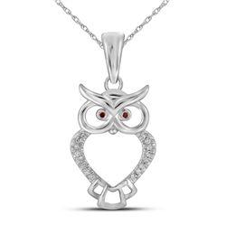 Round Red Color Enhanced Diamond Owl Bird Animal Pendant 1/20 Cttw 10kt White Gold