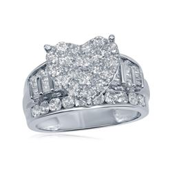 Diamond Heart Bridal Wedding Engagement Ring 2.00 Cttw 10kt White Gold